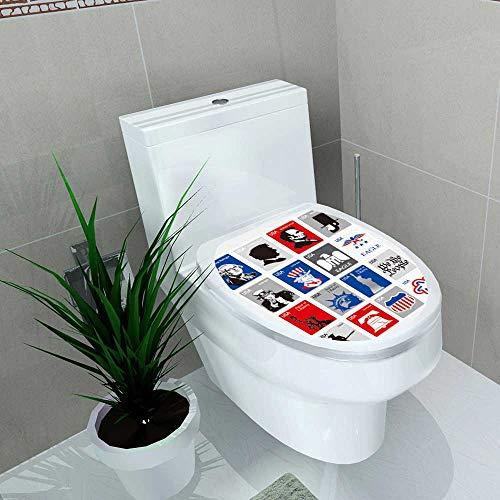 Decal Wall Art Decor USA Symbols Set Icons Framed Stamps Toilet Decoration W13 x L18 (Framed Stamp)