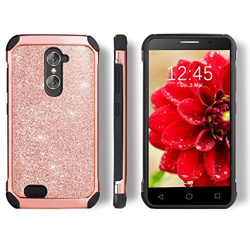 ZTE Grand X Max 2 Case, ZTE Imperial Max Case, BENTOBEN 2 in 1 Glitter Hybrid Hard PC Faux Leather Chrome Shockproof Protective Case for ZTE Grand X Max 2 / Kirk Z988 / Duo LTE Z963U, Rose Gold - Lte Grand X Max Cases
