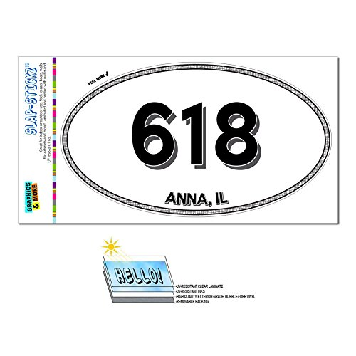 graphics-and-more-area-code-oval-window-laminated-sticker-618-illinois-il-addieville-claremont-anna