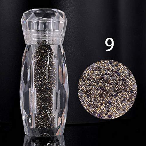 - Nail Art Supplies - 3D Nail Art - Nail Art Rhinestones - 1 Bottle Gradient Colorful Crystal Gravel Sand Beads Strass Nail Glass Caviar Beads 3D Nail Decorations - 09