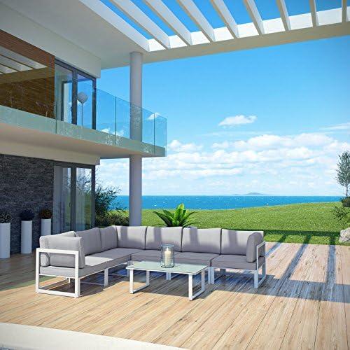 Urbano Moderno contemporáneo 7 pcs al aire libre Patio sofá seccional conjunto, blanco gris tela acero: Amazon.es: Jardín