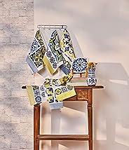 Jogo de 6 unidades - pano de copa atoalhado sintra – azul portugu s e amarelo - lepper