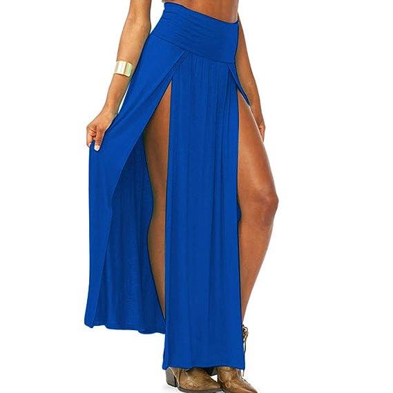 Pommee - Falda Larga para Mujer Azul S: Amazon.es: Ropa y accesorios