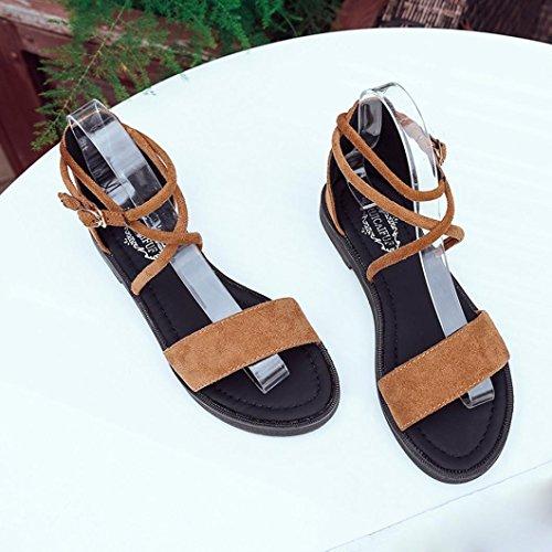 erthome Women Flat Sandals Cross Straps Open Toe Buckle Low Heel Sandals Wedge Summer New Yellow CtjTLM