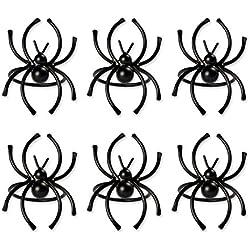 DII CAMZ37637 Spider Napkin Ring Set/6, Set of 6, Halloween Black Piece