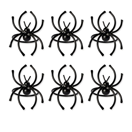 DII Set of 6 Napkin Rings, Black Spider - Perfect for Halloween, Dinner Parties and Scary Movie Nights