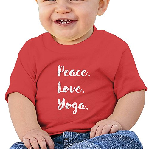 Peace Love Yoga 6 - 24 Months Baby T-shirts Round Neck Shirt Red 6 M