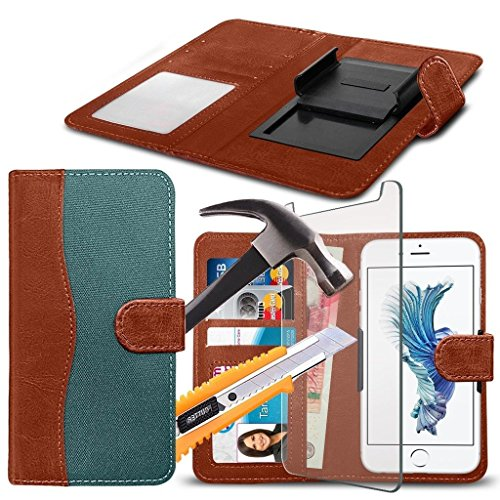 ( Brown 144 x 76.2 mm ) Handytasche fŸr DOOGEE MIX HŸlle HandyhŸlle [ UNIVERSAL BOOK POUCH ] DŸnnFabrics and Synthetic PU Leather Kunstleder,r Spring Clamp Adjustable Flip HŸlle HandyhŸlle Skin with C Fabric Clamp Flip+ GLASS 5.5 inch (Green)