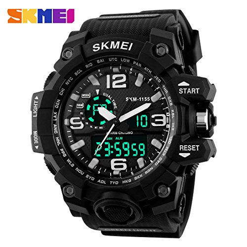 SKMEI Analog-Digital Black Dial Men's Watch – AD1155 (Black)