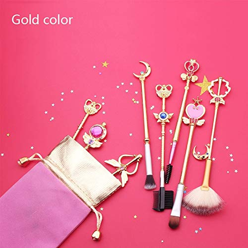 Best Quality - Eye Shadow Applicator Anime Jewelry Sailor Moon Makeup Cosmetic Brush Set Pincel Maquiagem Golden Metal Moon With Crystal Women Gifts - by Chipsua - 1 PCs - Jlo Womens Metal