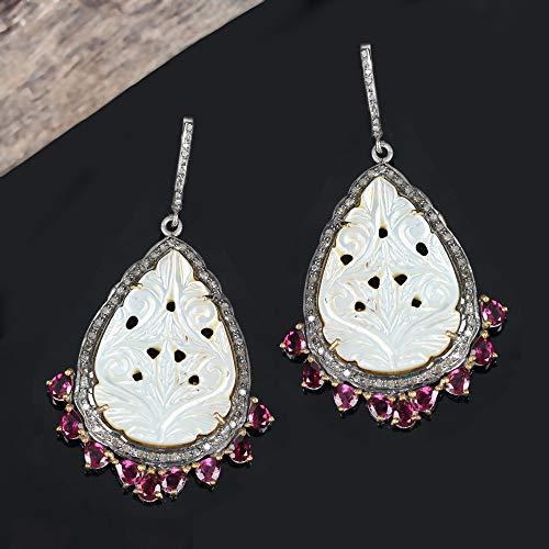 Genuine Diamond Rhodolite Carved Mother Of Pearl Designer Dangle Earrings 925 Silver Handmade Fine Jewelry Christmas Gift For Her