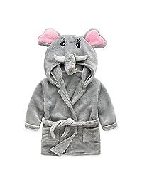 JIANLANPTT Kids Little Boys Girls Hooded Pajamas Cartoon Animal Bath Robes