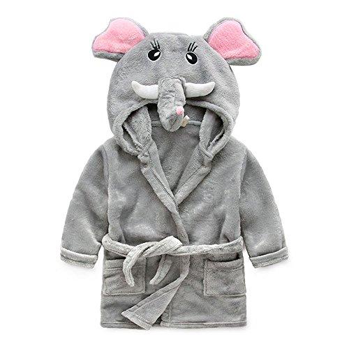 Little Boys Girls Hooded Animal Bathrobe Kids' Flannel Fleece Pajamas Robe Grey Elephant,3t(2-3 years)