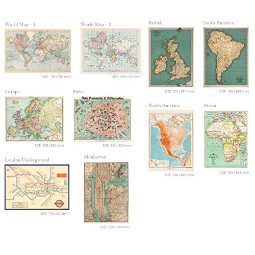 ter & Craft Wrapping Paper Set (10Rolls each map design) ()