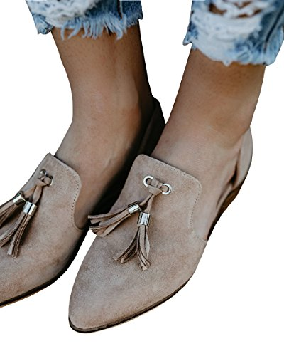 Womens Casual Pointed Toe Cut Out Slip on Side Office Tassel Low Heel Shoes (Side Tassels)