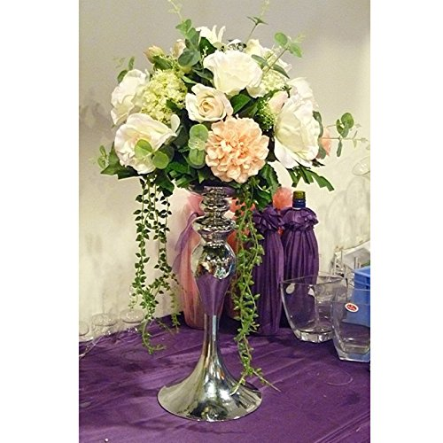 Silver Metal Candle Holders 50cm/20'' Stand Flowers Vase Candlestick (1, 50cm)
