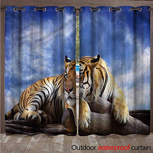 cobeDecor Safari Outdoor Ultraviolet Protective Curtains Tiger on Wood Wildlife W84 x L108(214cm x 274cm)