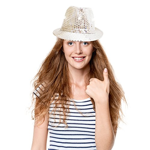Fun Central O993 LED Light Up Sequin Fedoras - Assorted Colors 12ct by Fun Central (Image #2)