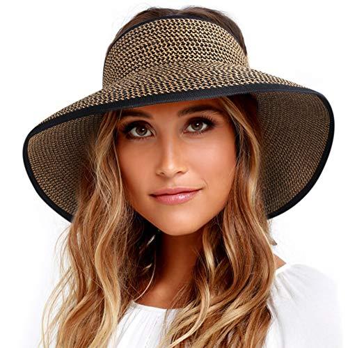 Sun Visor Hats for Women Wide Brim Straw Roll Up Ponytail Summer Beach Hat UV UPF 50 Packable Foldable Travel FURTALK ()