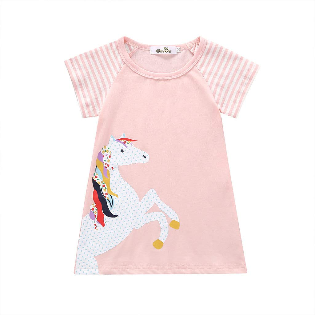 NUWFOR Toddler Baby Girl Kid Cartoon Clothes Horse Stripe Print Princess Party Dress(Pink,3-4 Years)