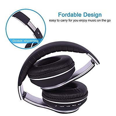 Over Ear Headphones mic, Bluetooth Wireless Headset 4.2, Hifi Stereo Deep Bass Earphone with 24H Playtime Foldable & Lightweight Design. Wired Wireless & Mode for iPhone, iPad, TV Table