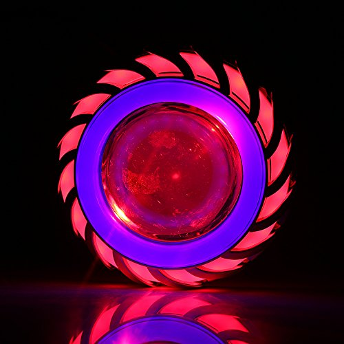 - Keenso Motorcycle High/Low Beam LED Projector Lens Dual Angel Devil Eye Head Lamp Cyclone Type(Blue & Red)