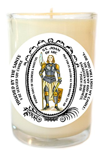 Saint Joan of Arc Patron of Soldiers 8 Oz Scented Soy Glass Prayer Candle by Touched By The Saints
