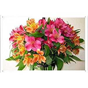 "Flower Tin Sign Alstroemeria Bouquet Vase Leaves 64771 by Waller's Decor (7.8""x11.8"") 28"
