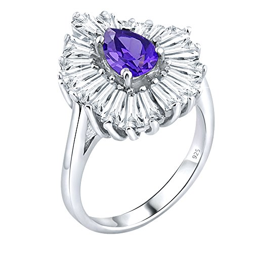 Polish Tapered Silver Sterling High (Women's Sterling Silver .925 Ring with Purple Pear Shaped Center Surrounded by 21 Tapered Baguette Cubic Zirconia (CZ) Stones, High Polish, Appears Identical to Platinum Or Gold)