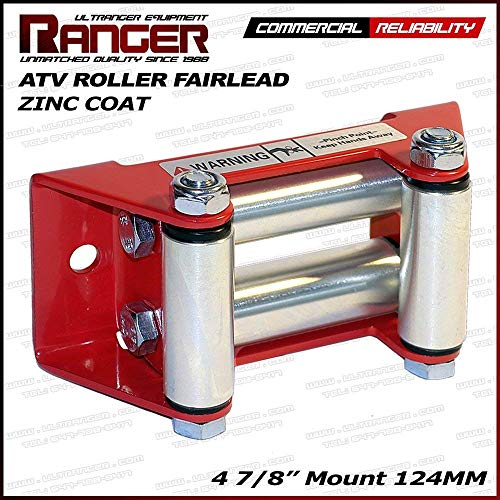 "Ranger ATV Winch Roller Fairlead 4 7/8"" (124MM) Mount for 2000-3500 LBs ATV Winch by Ultranger Glossy (Red)"