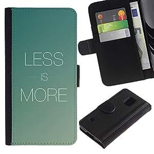 YiPhone /// Tirón de la caja Cartera de cuero con ranuras para tarjetas - Menos es más - Samsung Galaxy S5 V SM-G900