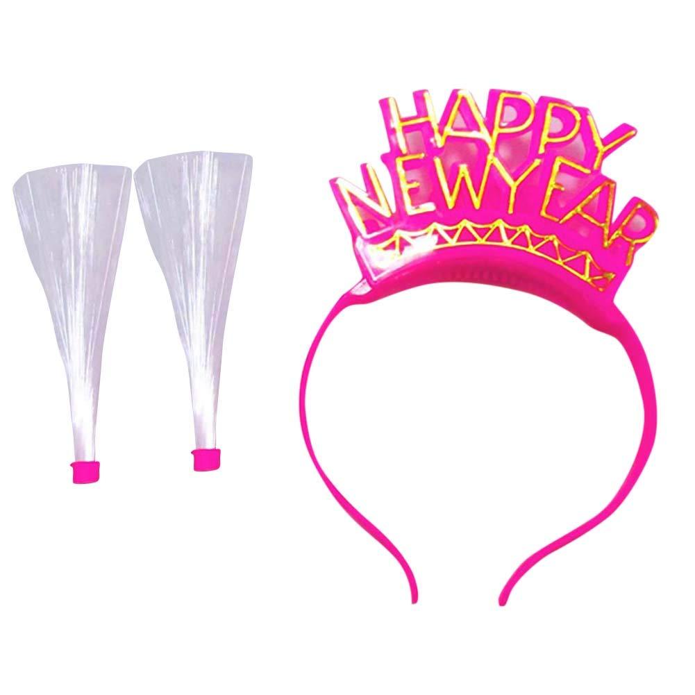 BrawljRORty Toys, Light Up LED Happy New Year Optical Fiber Hair Hoop Christmas Party Decor Gift