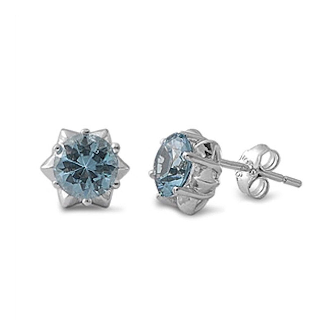 Solitaire Stud Post Earring Star Shape and Round Simulated Light Blue Aquamarine 925 Sterling Silver