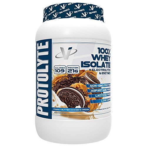 VMI Sports ProtoLyte 100% Whey Isolate Protein Powder, Peanut Butter Cookies & Cream, 1.63lb, with Amino Acids, Electrolytes, Enzymes, High Protein, Sugar Free, Gluten Free, Lactose Free