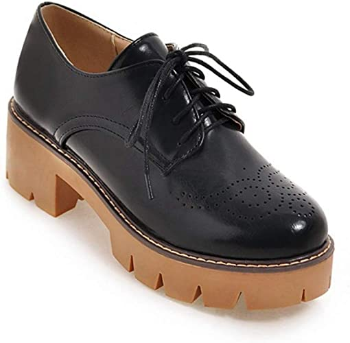 Nevera Womens Round Toe Oxfords Classic Lace up Low Heel Formal Oxford Shoes