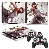EBTY-Dreams Inc. - Sony Playstation 4 Slim (PS4 Slim) - Attack On Titan (Shingeki No Kyojin) Anime Mikasa Ackerman Vinyl Skin Sticker Decal Protector