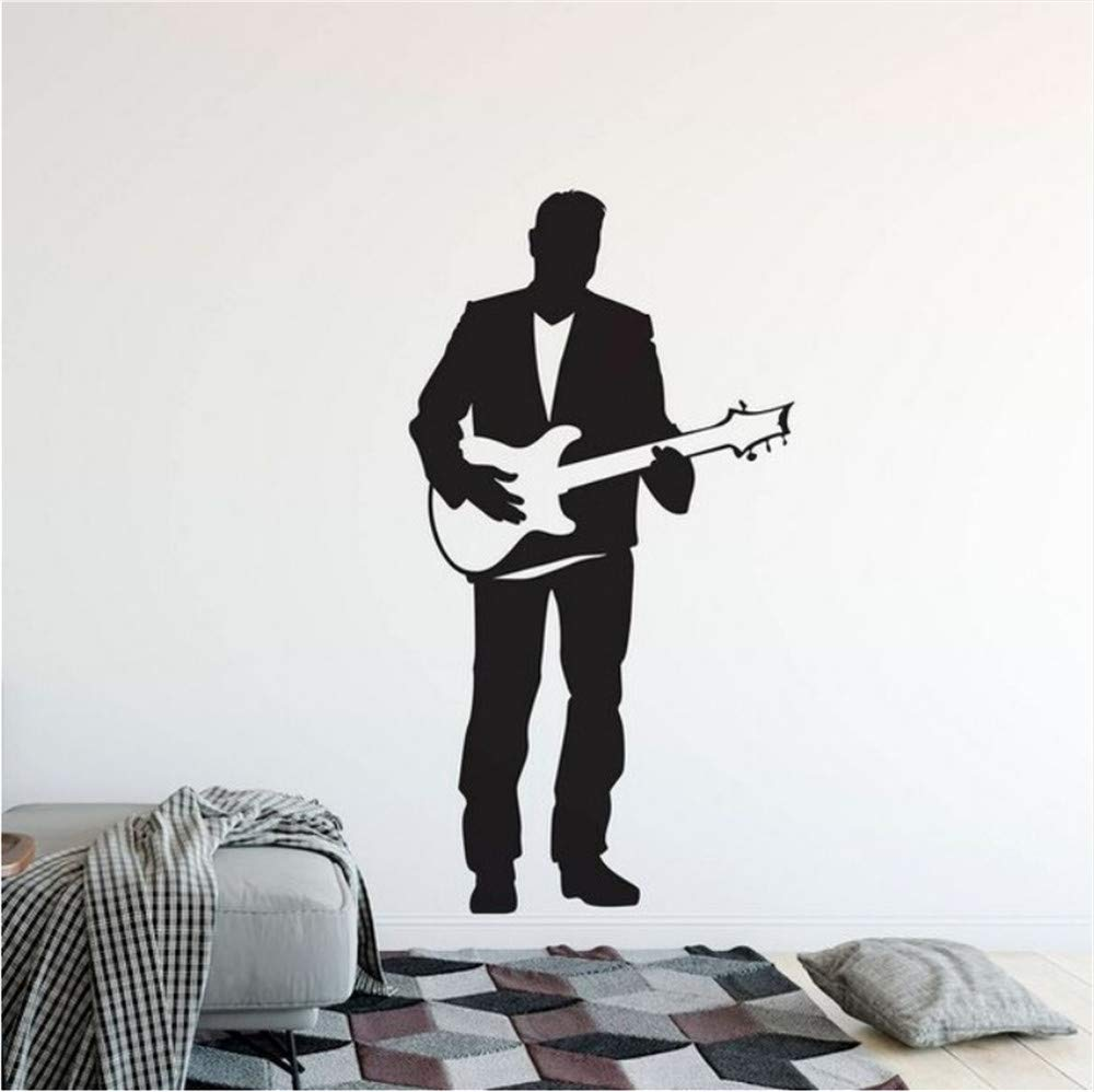 Waofe Guitarra Eléctrica Etiqueta De La Pared Singer Man Con Guitarra Vinilo Tatuajes De Pared Home Música Club Decoración Guitarra Cantante Cartel De La ...