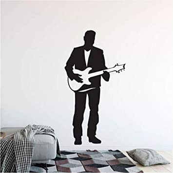 Waofe Guitarra Eléctrica Etiqueta De La Pared Singer Man Con Guitarra Vinilo Tatuajes De Pared Home Música Club Decoración Guitarra Cantante Cartel De La ...