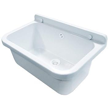 Waschbecken Ausgussbecken 55 cm x 34 cm x 21 cm Spülbecken Waschtrog mit  Überlauf Waschbecken für Gewerbe Waschraum Garten inkl. Ablaufgranitur