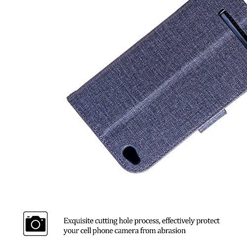 Funda Xiaomi Redmi 4A , Bolso Estilo Book para Redmi 4A de Diseño Tela de Algodón E-Lush Flip Cartera de PU de Alta Calidad Sencillo Caja con TPU Silicona Carcasa Interna Suave [Ranura para Tarjeta] C Negro
