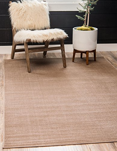 Tribeca 5 Light - Unique Loom Williamsburg Collection Low Pile Height Modern Solid Light Brown Home Décor Area Rug (5' x 8')