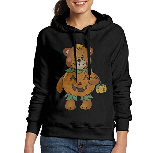 Fat Amy Halloween Costumes (Bekey Women's Halloween Pumpkin Bear Hoodie Sweatshirt M Black)