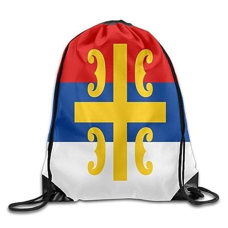 Vilico Bandera de la Cruz Serbia Personalizada Gimnasio con cordón Bolsas de Viaje Mochila Tote Mochila
