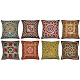 Labhanshi 10PC ricamato Sari patchwork cuscino, 16 x 16 indiano etnico federa, federa cuscino patchwork fatti a mano, sari patch throw Pillow