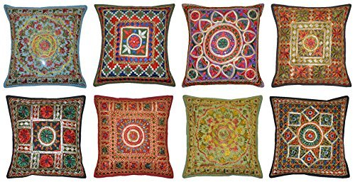 Labhanshi Handmade Embroidered and Mirror Work Indian Cotton Throw Pillow Cushion Covers 16 X 16 Inches Set of 5 Pcs