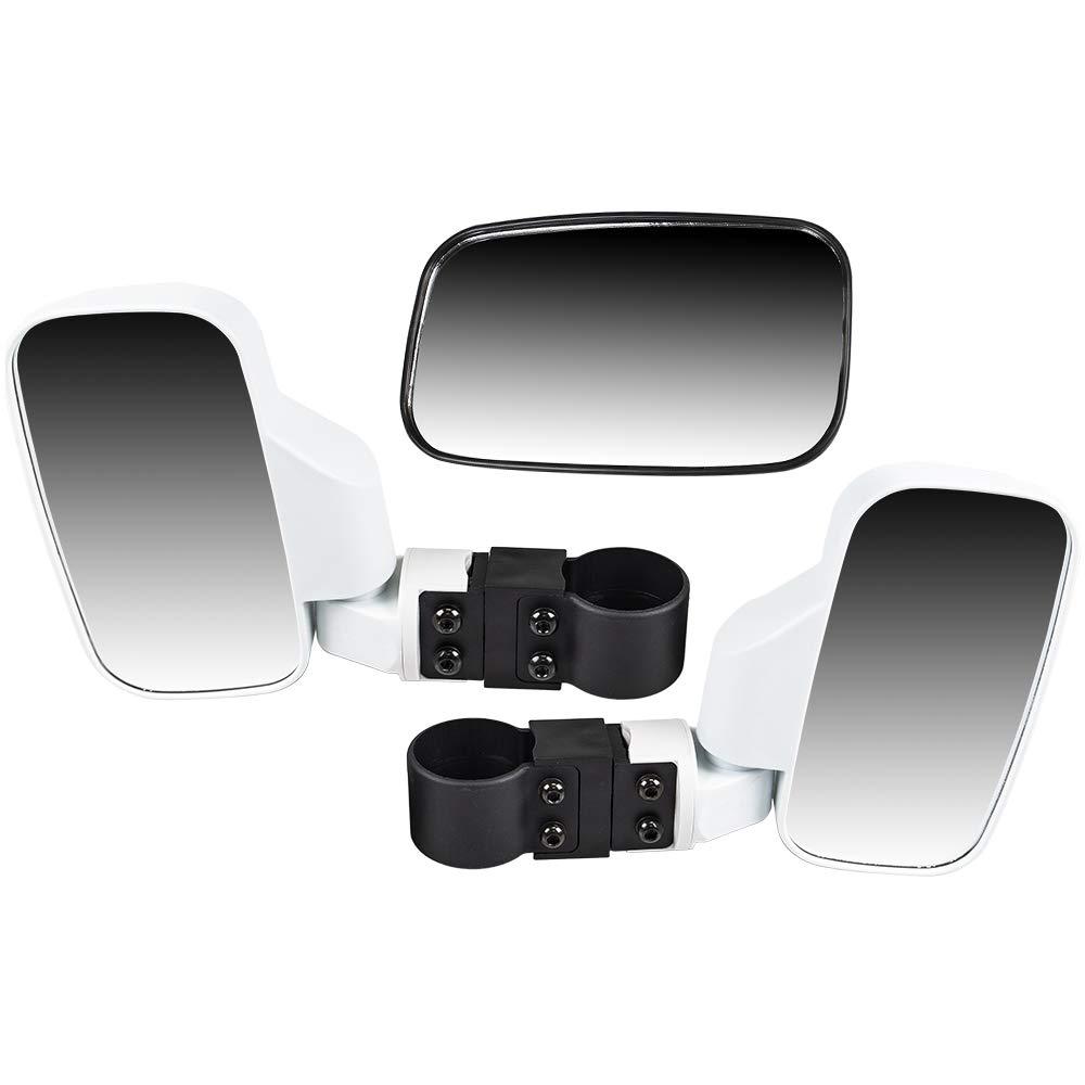 8TEN White Breakaway Offroad Rear & Side View Mirrors Combo Side x Side UTV Utility Vehicle w/ 1.75'' Roll Cage Bar