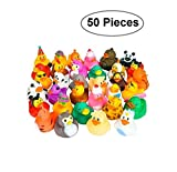 Rubber Ducks -50 Assorted Pieces-2 Inch - For Kids, Party Favors, Gift, Birthdays, Baby Showers, Baby Bath Toys, Bath Time, Easter Party Favors, And More - Kidsco
