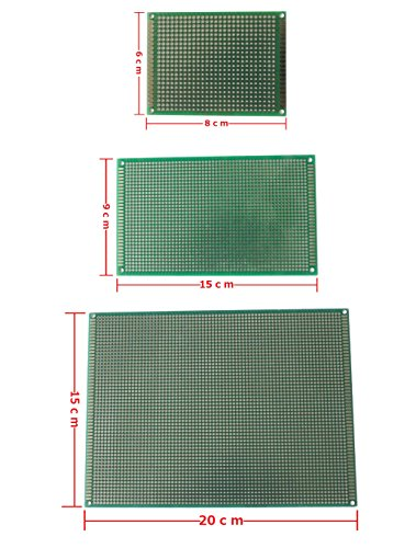 MDW DIY Multi-Sized (15x20CM,9x15CM and 6x8CM) Double Side Prototype PCB Universal Printed Circuit Board (Green)