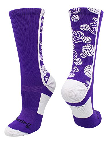 MadSportsStuff Crazy Volleyball Logo Crew Socks (Purple/White, Medium)