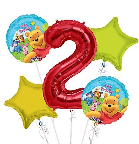 Winnie the Pooh Balloon Bouquet 2nd Birthday 5 pcs - Party Supplies